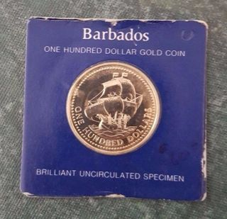 Barbados 1625 - 1975 350th Anniversary One Hundred Dollar Gold Coin,  Bu photo