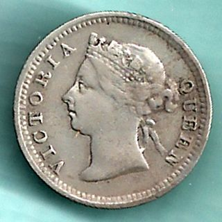 Hong Kong - 1887 - Victoria Queen - Five Cents - Rarest Small Silver Coin photo