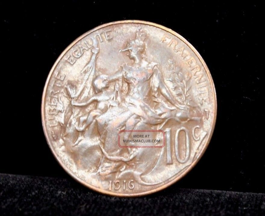 1916 France 10 Centimes Bronze Coin Km 843 France photo