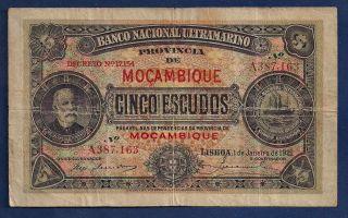 Mozambique Portugal Colony 5 Escudos 1921 P - 67 Portuguese Africa Note photo
