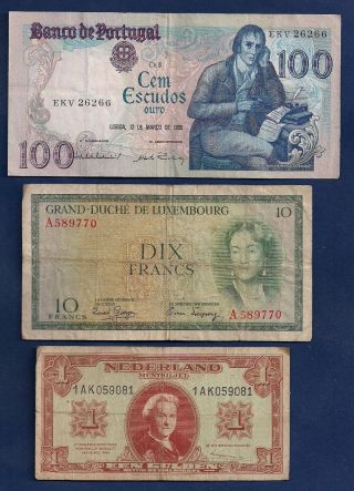 Portugal 100 Esc,  Luxembourg 10 Francs P - 48,  Netherlands 1 Gulden 1945 P - 70 photo