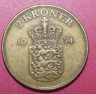 Denmark Aluminum - Bronze Coin 2 Kroner 1954 photo