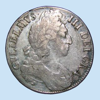 1696 Silver Crown,  William Iii,  Octavo,  1694 - 1702 Great Britain,  About Vf,  $nr$ photo