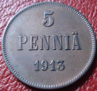 1913 Finland 5 Pennia In Vf photo