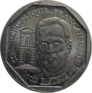 France 2 Francs 1995 Km 1119 Nickel Louis Pasteur H51 photo