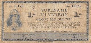 Suriname 1 Gulden 30.  4.  1942 Series O Circulated Banknote photo
