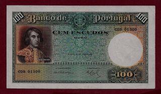 Portugal Portuguese 100 Escudos 1941 P - 150 Rare Vf, photo