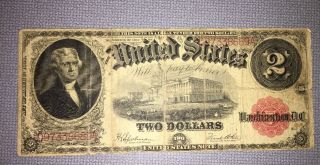 1917 Large Size Note $2 Two Dollar Bill Red Seal Banknote photo