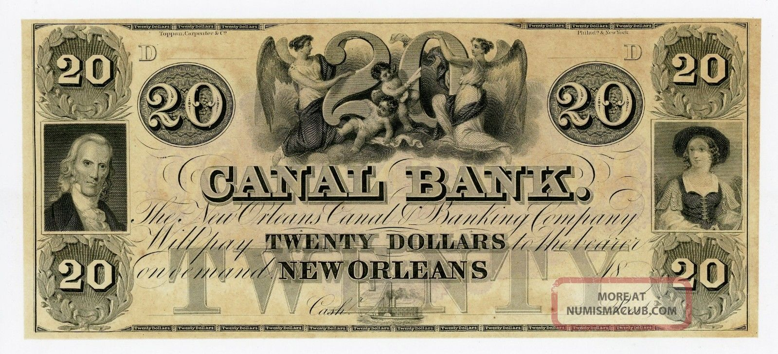 1800 ' S $20 The Canal Bank - Orleans,  Louisiana Note Au Paper Money: US photo