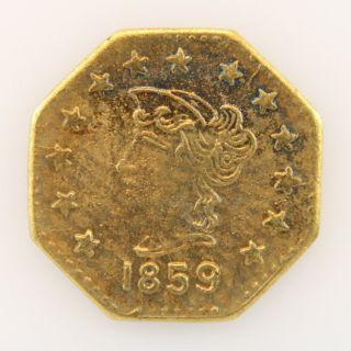 1859 California Gold Token - Octagonal Liberty photo