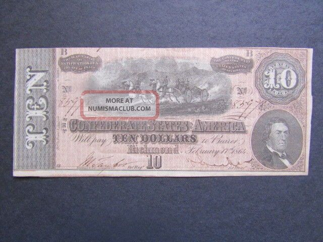 Confederate States Of America - Currency Note - $10 - 1864 - Note Paper Money: US photo