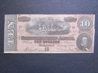 Confederate States Of America - Currency Note - $10 - 1864 - Note photo