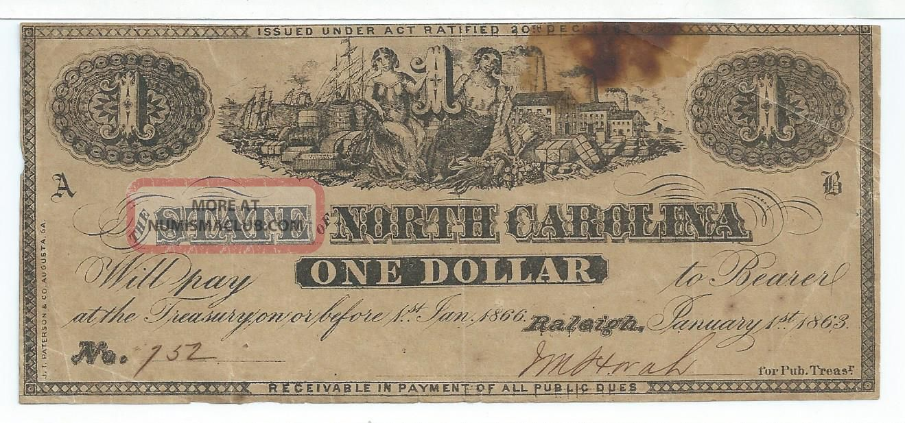 State North Carolina Raleigh $1 1863 Signed Issue Two Plate Letters Low 152 Paper Money: US photo