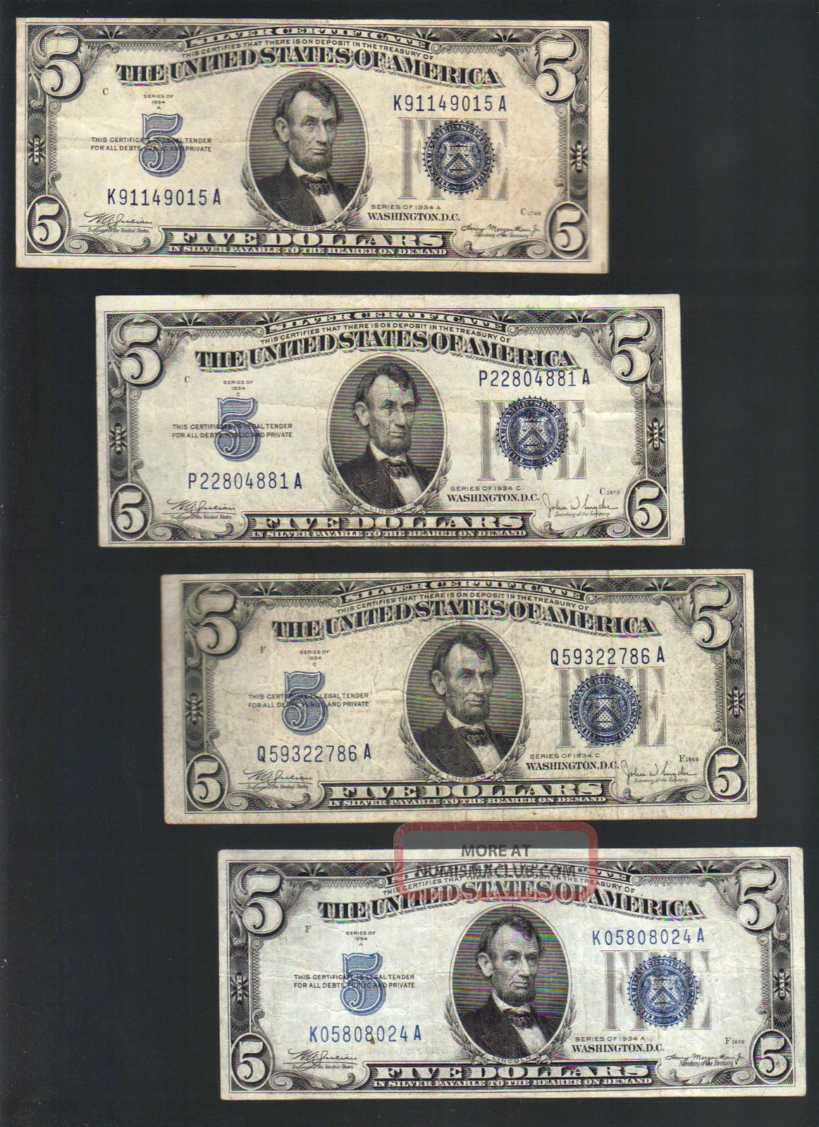 $5 1934 Five Dollar Bill Blue Seal Silver Certificate Note Old ...