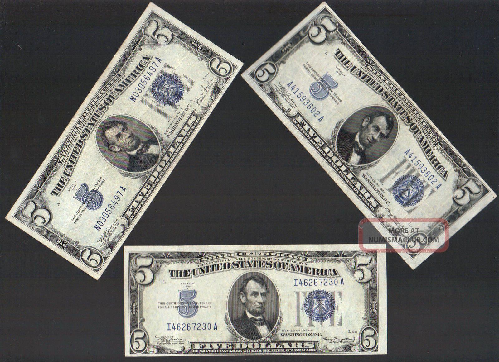 5 1934 Five Dollar Bill Blue Seal Silver Certificate Note Old