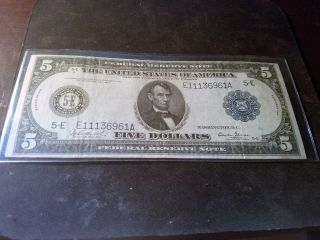 1914 5 Dollar Federal Reserve Note photo