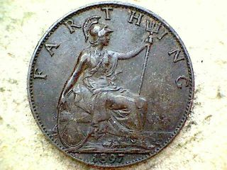Great Britain Queen Victoria 1897 Farthing,  Bronze photo