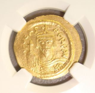 Ad 602 - 610 Phocas Ancient Byzantine Gold Solidus Ngc Au 4/5 3/5 photo