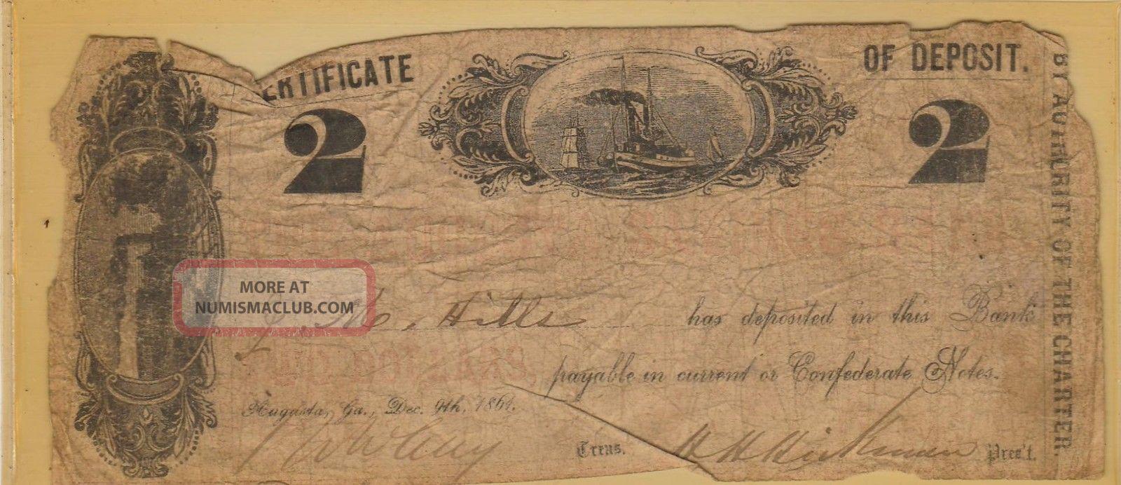 1861 The Augusta Savings Bank Certificate Of Deposit (2 Dollars) : Civil War Era World photo