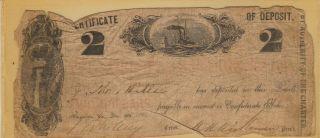 1861 The Augusta Savings Bank Certificate Of Deposit (2 Dollars) : Civil War Era photo