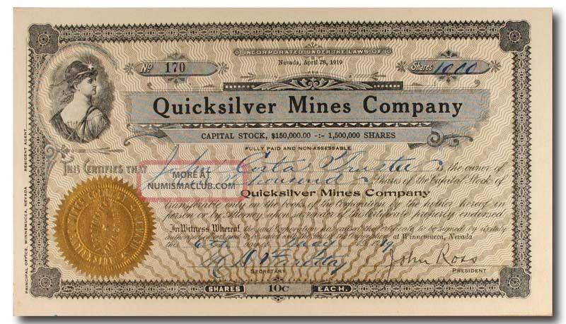 S435 Quicksilver Mines Company 1919 Stock Certificate Black & Gold Stocks & Bonds, Scripophily photo