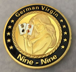 1 Oz German Nine Nine Playing Card Finished In 24k Gold Coloried Coin photo
