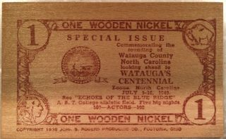 7/5 - 10/1949 Watauga Co.  North Carolina Centenial Wooden Flat 1 Wooden Nickels photo