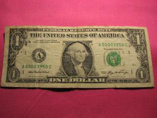 2006 $1 One Dollar Bill Low Serial Number - Boston - Massachusetts A 00003950 C photo