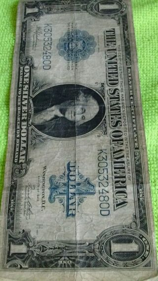 1923 $1 Silver Certificate Large Size Note Horse Blanket Paper Estate (large) photo
