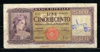 Paper Money Italy 1947 500 Lire photo