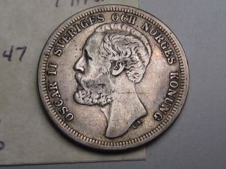1881 Eb Silver 1 Krona.  Sweden.  Oscar Ii.  Better Grade.  Low Mint; 620k photo
