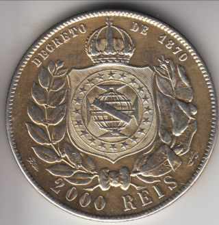 1889 Brazil Silver 2000 Reis,  Large Crown,  Cleaned,  Km - 485 photo