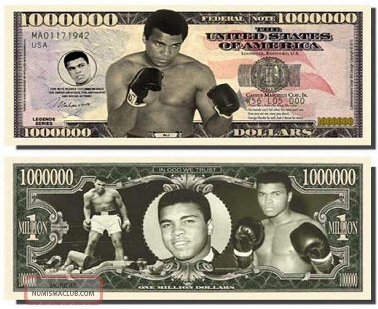 Muhammad Ali Million Dollar Bills Fresh Off The Press W/ Bonus Penny Paper Money: US photo