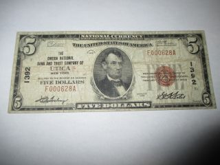 $5 1929 Utica York Ny National Currency Bank Note Bill Ch.  1392 Rare photo