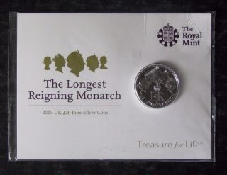 2015 Great Britain Uk 20p Silver Coin - Longest Reigning Monarch - photo