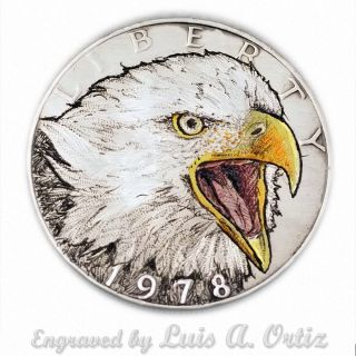 Screaming Eagle S834 Ike Hobo Nickel Engraved & Colored By Luis A Ortiz photo