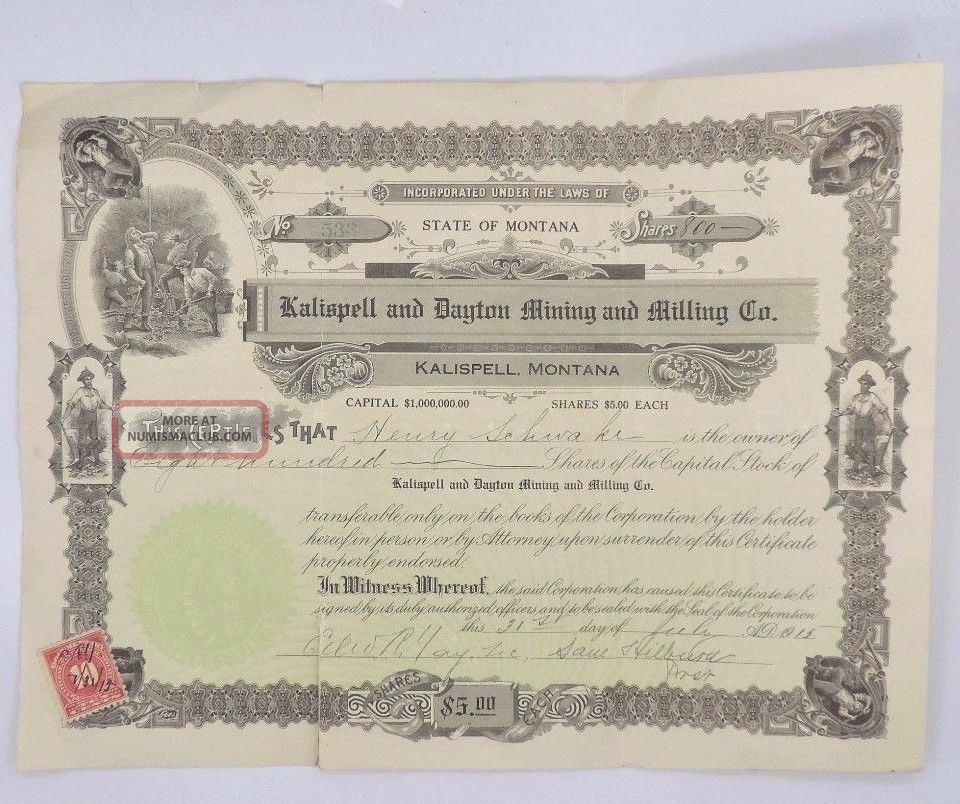 Kalispell And Dayton Mining & Milling Company Stock Certificate Stocks & Bonds, Scripophily photo