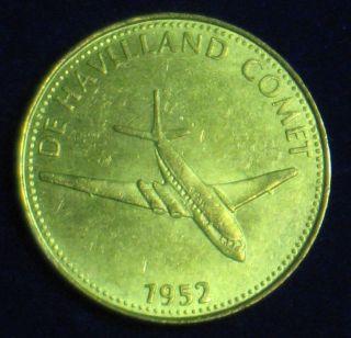 De Havilland [1952] Shell Oil Collector Token Brass - Plated Steel 1