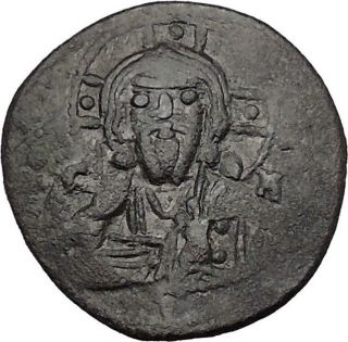 Jesus Christ Class I Anonymous Ancient 1078ad Byzantine Follis Coin Cross I44004 photo