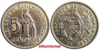 Guatemala Silver 1933 5 Centavos Aunc Low Mintage - 600,  00 Km 238.  2 photo