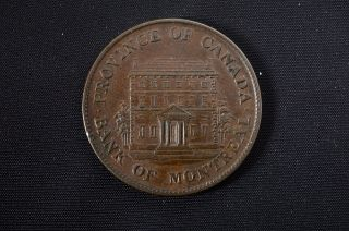 Rare 1844 Canada - Bank Of Montreal - Half Penny Token - Detail No Res photo