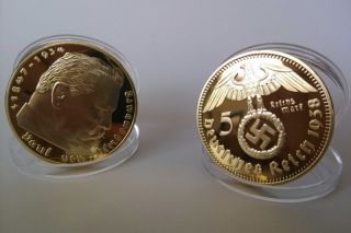 German 5 Reichsmark Eagle 1938 Gold Plated Coin - Souvenir Craft 1pcs photo