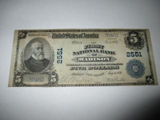 $5 1902 Madison Jersey Nj National Currency Bank Note Bill Ch 2551 Vf, photo
