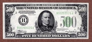 $500 Bill 1934a York Federal Reserve Note Five Hundred Dollars photo