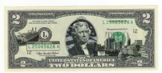 Bu Mississippi $2 Two Dollar Bill Colorized State Landmark Uncirculated 2003 - A photo