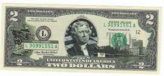 Bu Rhode Island $2 Two Dollar Bill Colorized State Landmark Uncirculated 2003 - A photo