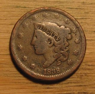 1838 Matron Head Large Cent - Young Head photo