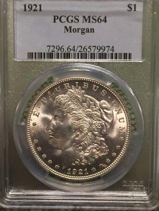 1 - 1921 Morgan Silver Dollar Pcgs Graded Ms64 photo