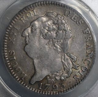 1793 - A Anacs Xf 40 France Louis Xvi Constitution Ecu Large Crown Coin 15042502c photo