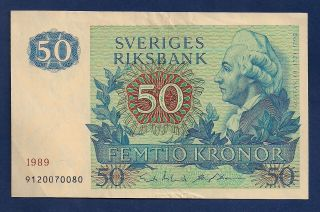 Sweden 50 Kronor 1989 P - 53d King Gustaf Iii / Carl Linnaeus Botanist photo